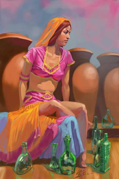 Genie Painting - Genie And The Bottles by Leonardo Di Fraia