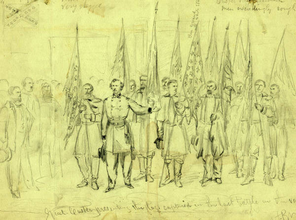 Wall Art - Drawing - Genl. Custer Presenting The Flags Captured In The Last by Quint Lox