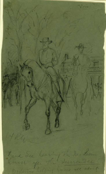 Wall Art - Drawing - Genl. Lee Leaving The Mclean House After The Surrender by Quint Lox