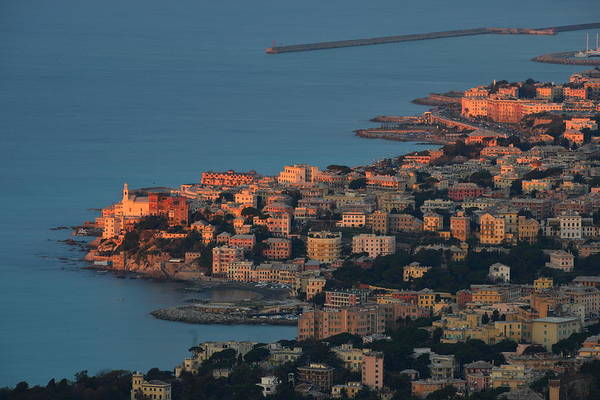 Photograph - Genoa Panorama Sunset - Tramonto Su Genova Boccadasse E Corso Italia by Enrico Pelos