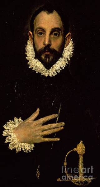 Sword Painting - Gentleman With His Hand On His Chest by El Greco Domenico Theotocopuli
