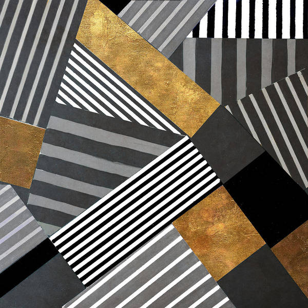 Gold Painting - Geo Stripes In Gold And Black II by Lanie Loreth