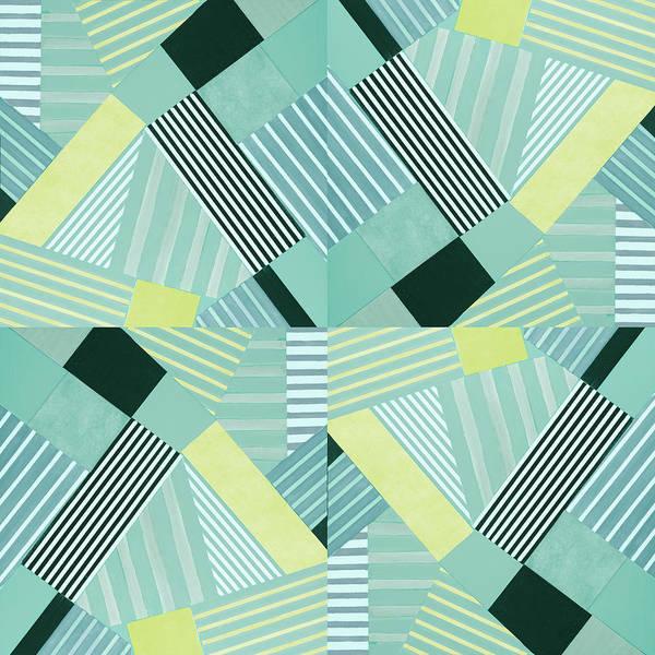 Wall Art - Digital Art - Geo Stripes In Pale Teal by Lanie Loreth
