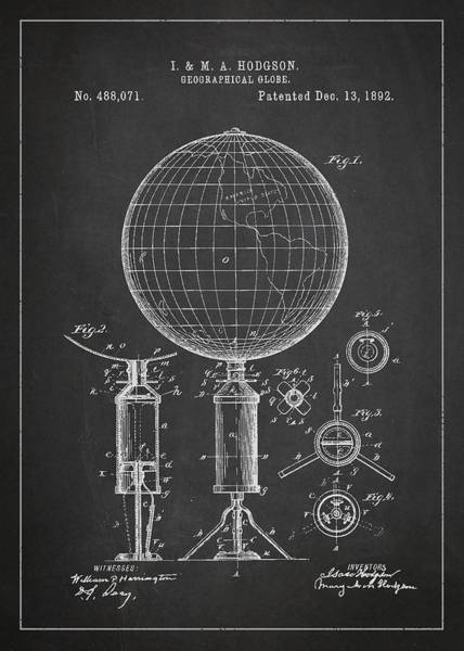 Wall Art - Digital Art - Geographical Globe Patent Drawing From 1892 by Aged Pixel