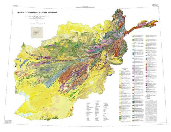 Geologic Photograph - Geologic And Mineral Resource Map Of Afghanistan by Us Geological Survey/science Photo Library