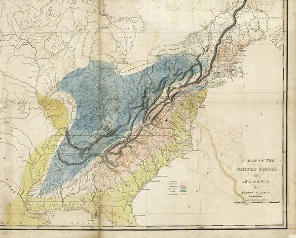 Samuel Lewis Wall Art - Photograph - Geological Map Of The Eastern Usa by Library Of Congress, Geography And Map Division/science Photo Library