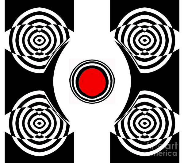 Digital Art - Geometric Abstract Black White Red Art No.400 by Drinka Mercep