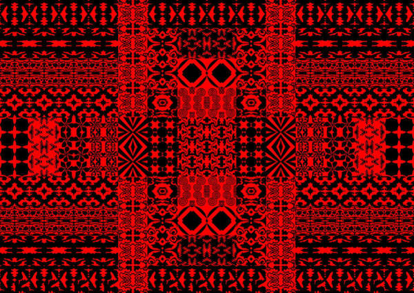 Geometric Abstract In Red Art Print