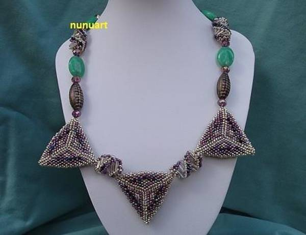 Wall Art - Jewelry - Geometric Beaded Triangles Necklace And Emarlad Beads by Nurit Tzubery