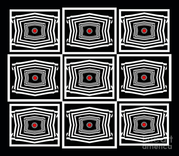 Digital Art - Geometric Op Art Black White Red Digital Abstract Print No.378. by Drinka Mercep