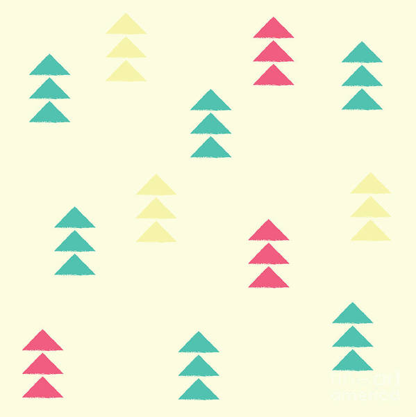 Simple Digital Art - Geometric Triangles, Seamless Pattern by Bluelela