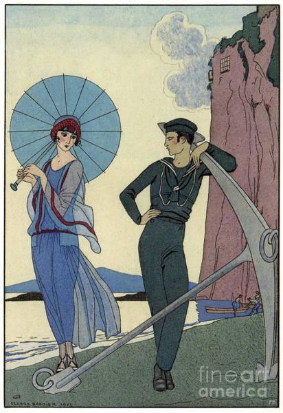 Fashion Plate Digital Art - George Barbier Romance Sans Paroles 1922 Sailor Woos Lady On Shore by Pierpont Bay Archive