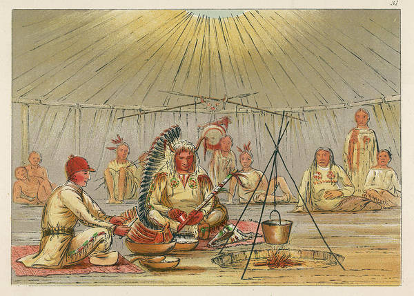 Mat Drawing - George Catlin Sits Cross-  Legged by Mary Evans Picture Library