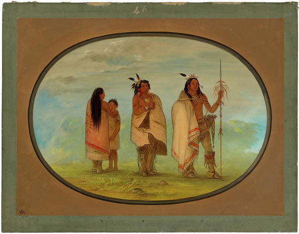 George Catlin, Weeco Chief, His Wife, And A Warrior Art Print