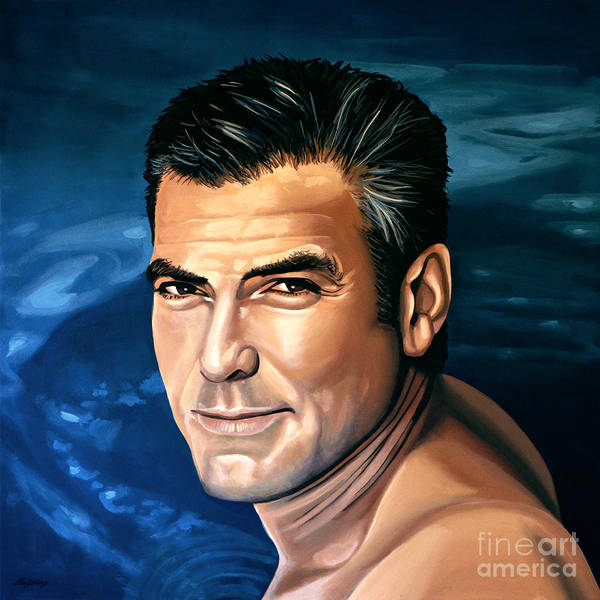 Wall Art - Painting - George Clooney 2 by Paul Meijering