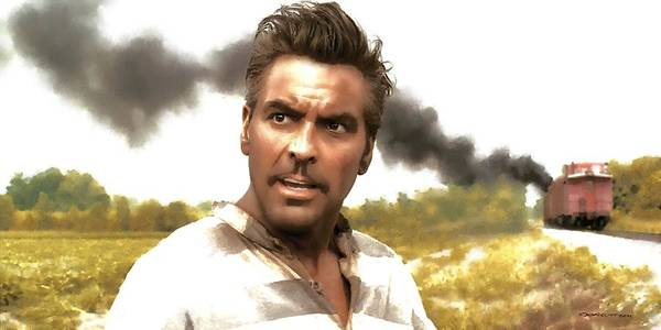 Digital Art - George Clooney In The Film O Brother Where Art Thou by Gabriel T Toro