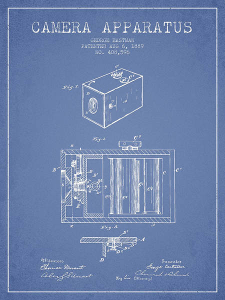 Lens Digital Art - George Eastman Camera Apparatus Patent From 1889 - Light Blue by Aged Pixel