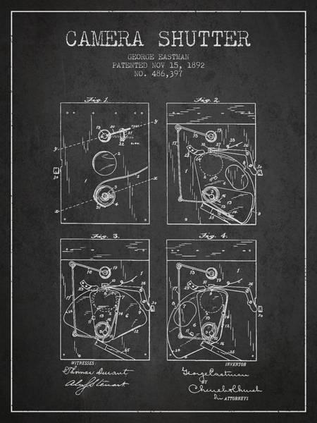 Lens Digital Art - George Eastman Camera Shutter Patent From 1892 - Dark by Aged Pixel