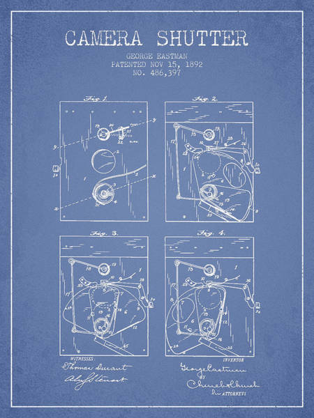 Lens Digital Art - George Eastman Camera Shutter Patent From 1892 - Light Blue by Aged Pixel