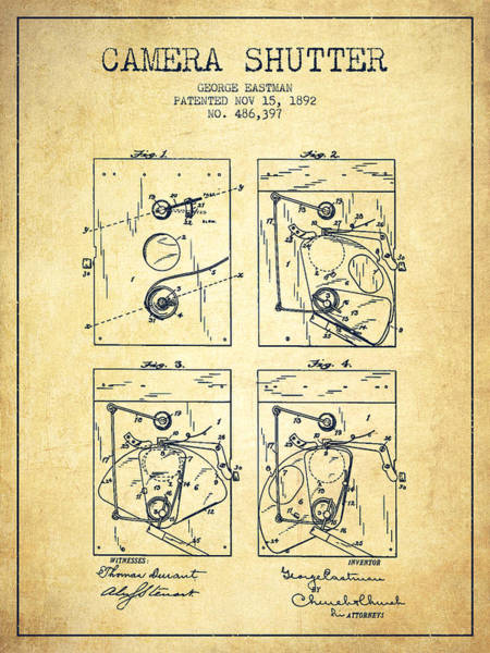 Lens Digital Art - George Eastman Camera Shutter Patent From 1892 - Vintage by Aged Pixel