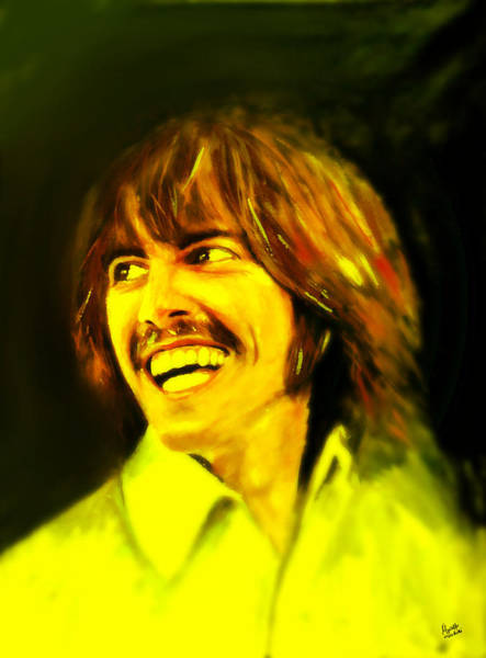 Postmark Painting - George Harrison - The Beatles by Marcello Cicchini