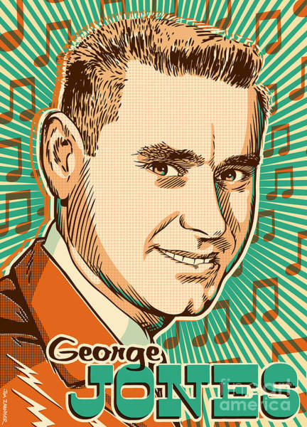 Nashville Wall Art - Digital Art - George Jones Pop Art by Jim Zahniser