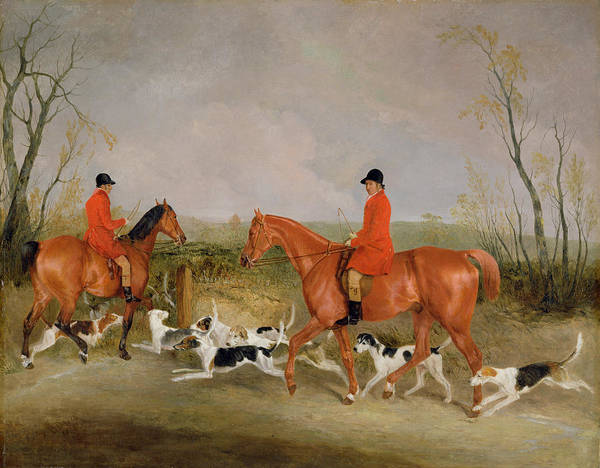Huntsmen Wall Art - Painting - George Mountford, Huntsman To The Quorn, And W. Derry, Whipper-in, At John Ogaunts Gorse, Nr Melton by Richard Barrett Davis