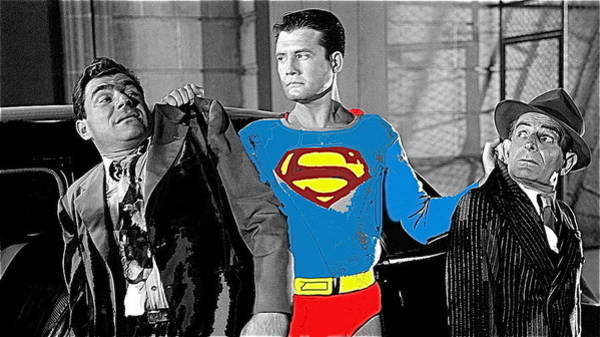 George Reeves As Superman In His 1950's Tv Show Apprehending Two Bad Guys 1953-2010 Art Print