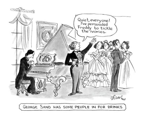 Classical Music Drawing - George Sand Has Some People In For Drinks by Edward Frascino