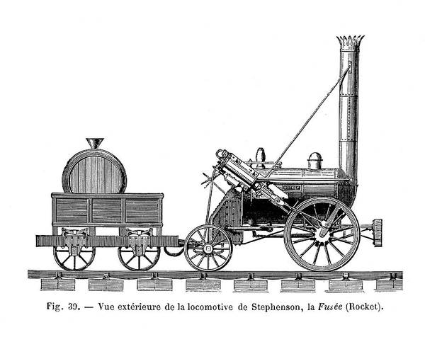 Rockets Drawing - George Stephenson's Locomotive by Mary Evans Picture Library