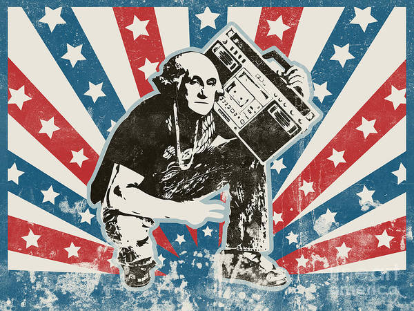 Joke Wall Art - Painting - George Washington - Boombox by Pixel Chimp