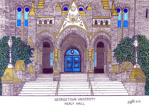 Wall Art - Drawing - Georgetown University by Frederic Kohli