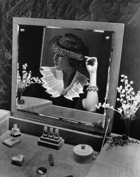 Dressing Photograph - Georgette Whelan Wearing A Sally Victor Hat by Lusha Nelson