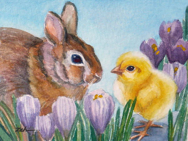 Painting - Georgia And Emmy Fluffentail by Janet Zeh