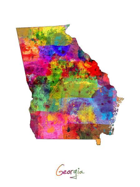 Atlanta Digital Art - Georgia Map by Michael Tompsett