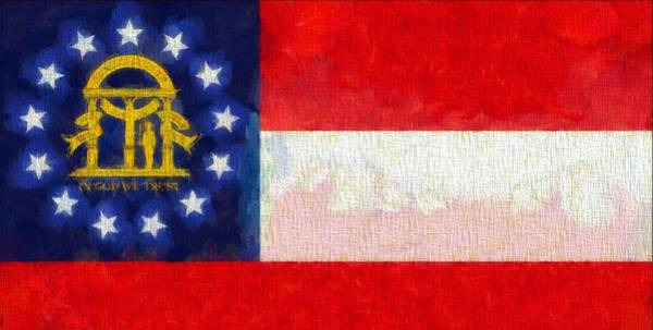 Wall Art - Painting - Georgia State Flag On Canvas by Dan Sproul
