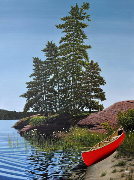 Painting - Georgian Bay Beached Canoe by Kenneth M Kirsch