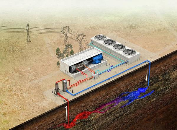 Geothermal Photograph - Geothermal Power Station by Claus Lunau/science Photo Library