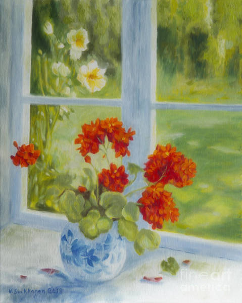 Red Geraniums Wall Art - Painting - Geranium Morning Light by Veikko Suikkanen