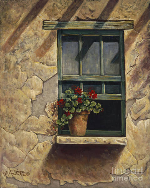 Wall Art - Painting - Geraniums And Shadows by Ricardo Chavez-Mendez