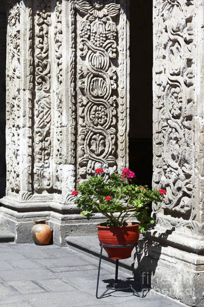 Photograph - Geraniums And Stone Carvings by James Brunker