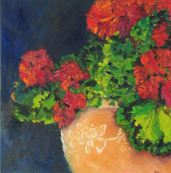 Wall Art - Painting - Geraniums - Red by Barbara Lipkin