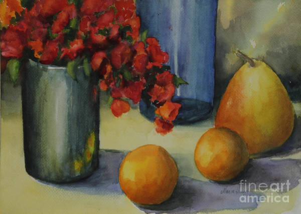 Red Geraniums Wall Art - Photograph - Geraniums With Pear And Oranges by Maria Hunt