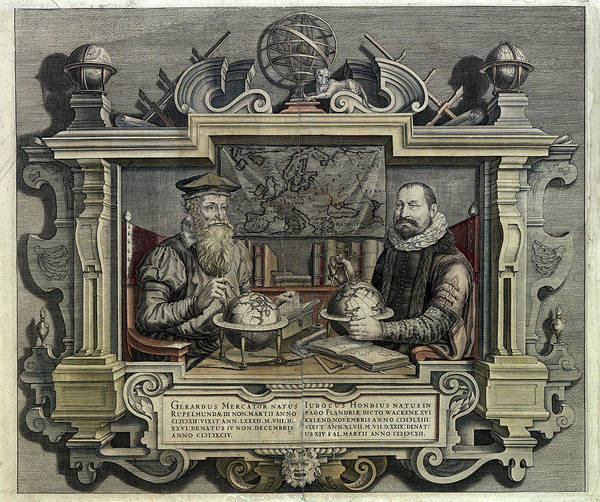 Cartography Photograph - Gerard Mercator And Jodocus Hondius by Museum Of The History Of Science/oxford University Images