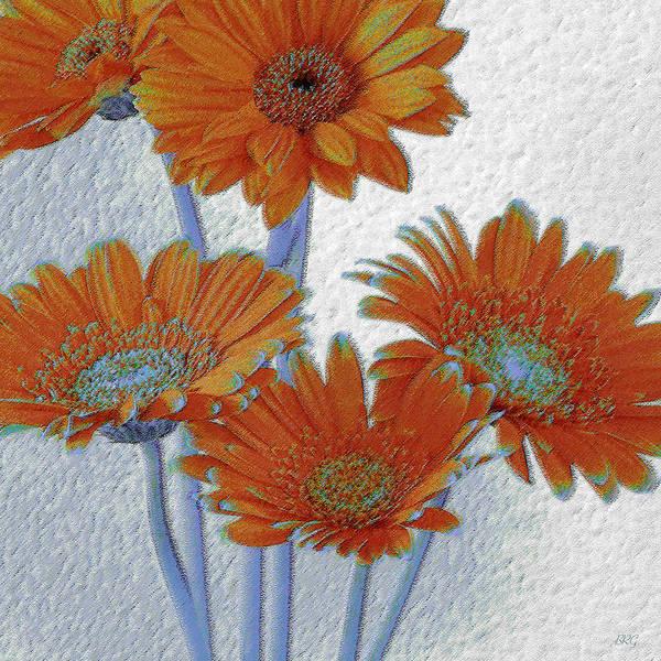 Wall Art - Photograph - Gerbera Daisies Pop Art In Orange And Blue by Ben and Raisa Gertsberg