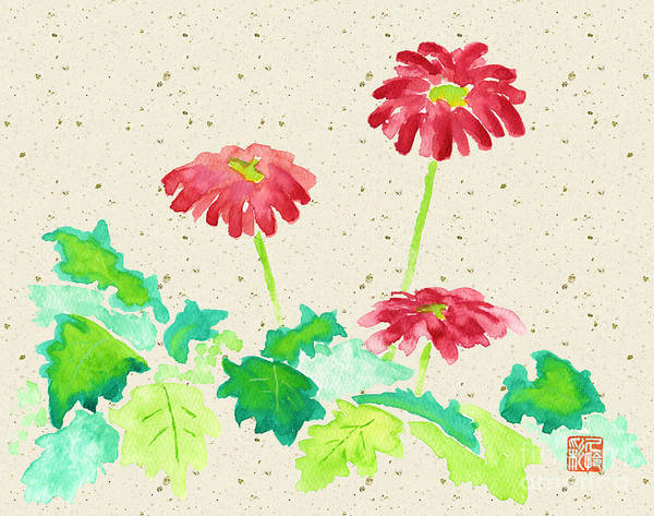 Gerbera Painting - Gerbera In Red With Beige Washi Background by Beverly Claire Kaiya