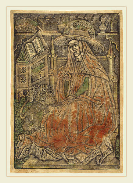 Rust Drawing - German 15th Century Or Master Of The Aachen Madonna, Saint by Litz Collection