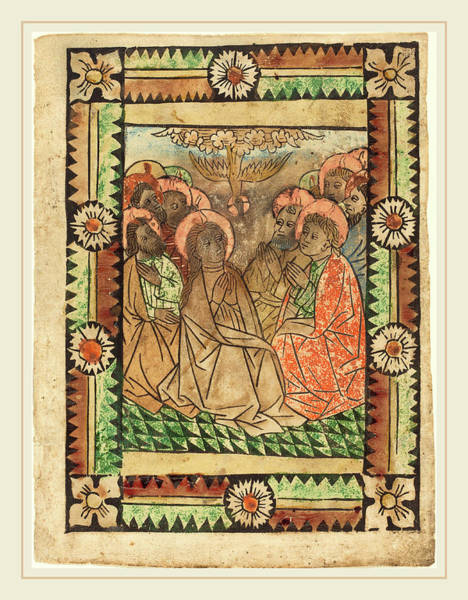 Holy Ghost Drawing - German 15th Century, The Descent Of The Holy Ghost by Litz Collection