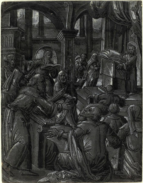 Prepare Drawing - German 16th Century, Christ Disputing With The Doctors by Litz Collection