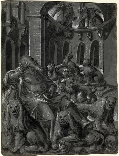 Prepare Drawing - German 16th Century, Daniel In The Lions Den Recto by Litz Collection